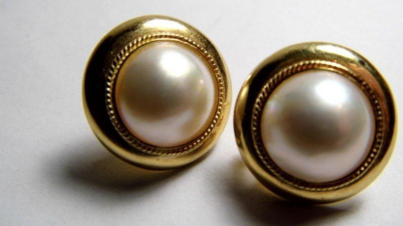 Victorian 9 Karat Gold & Mabe White Pearl Post/Clip - 2