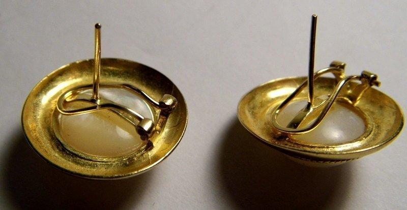 Victorian 9 Karat Gold & Mabe White Pearl Post/Clip - 3