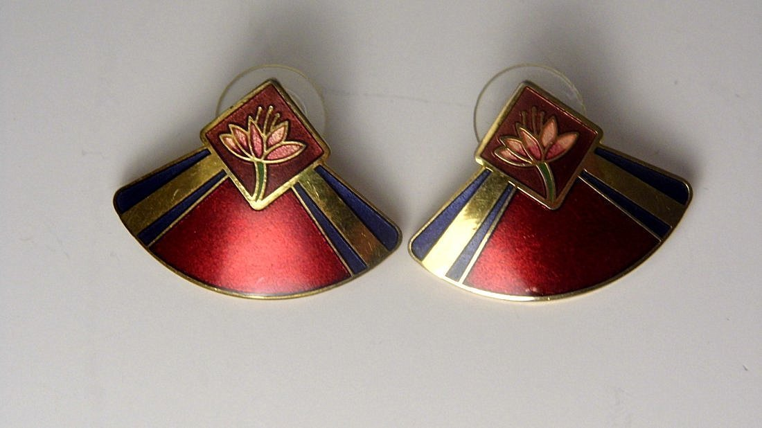 Pair Cloisonne Enamel Designer Earrings Laura Burch
