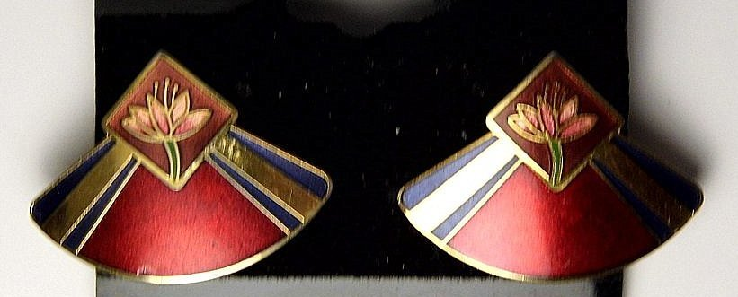 Pair Cloisonne Enamel Designer Earrings Laura Burch - 3