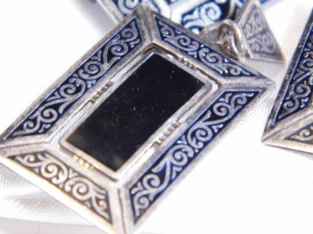 Eastern European Niello Silver Pin & Drop Earrings - 2