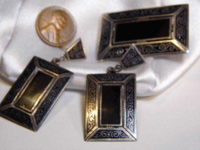 Eastern European Niello Silver Pin & Drop Earrings - 5