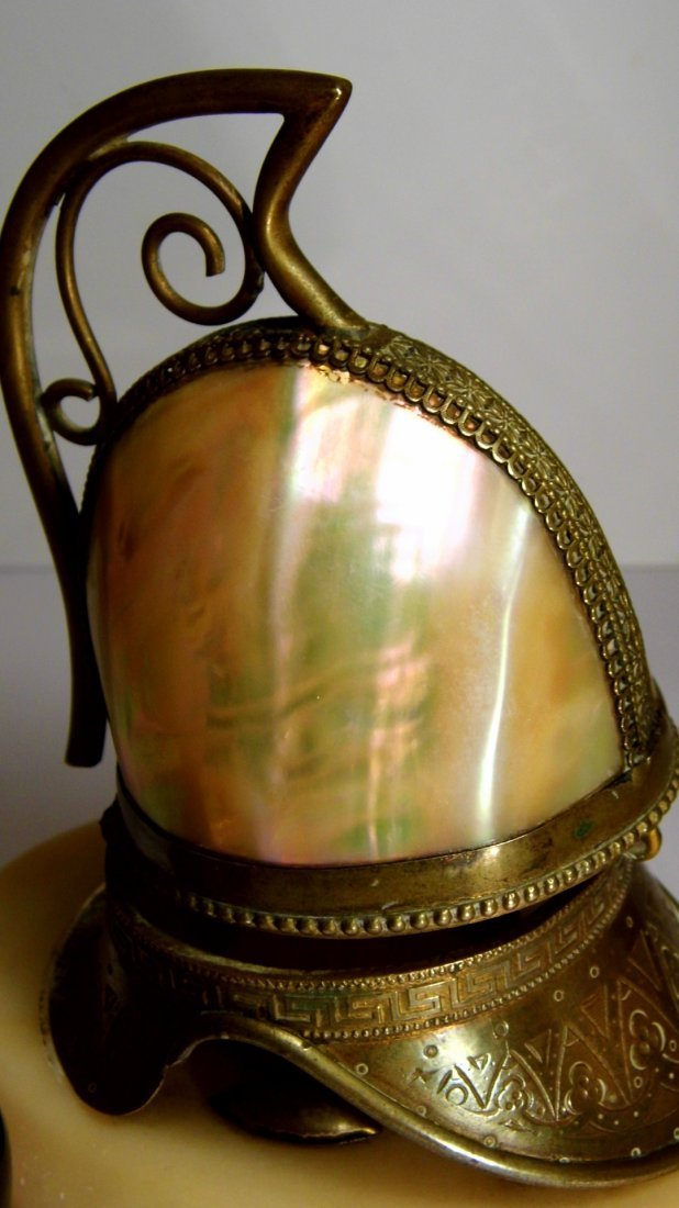 Antique Footed Turban Shell Brass Ink Well - 2