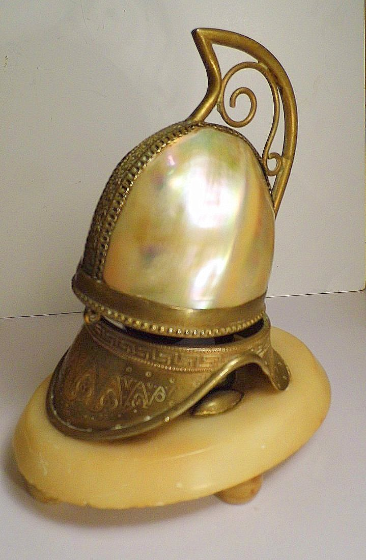Antique Footed Turban Shell Brass Ink Well - 4