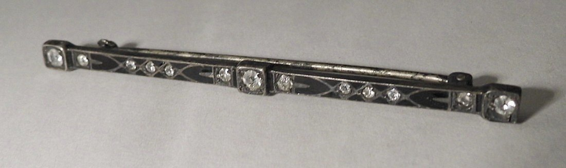 ca 1900 Victorian Sterling Silver Enameled Bar/Tie Pin