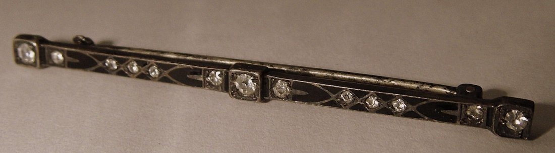 ca 1900 Victorian Sterling Silver Enameled Bar/Tie Pin - 2