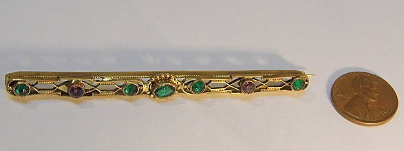 Antique Victorian Gold Plated Bar Pin - 3