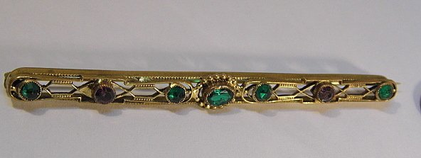 Antique Victorian Gold Plated Bar Pin - 4