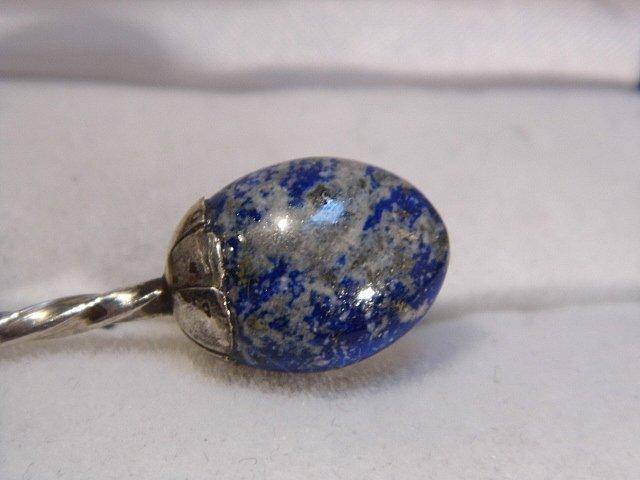 Antique Chilean Souvenir Spoon 900 Silver Lapis Stone - 6