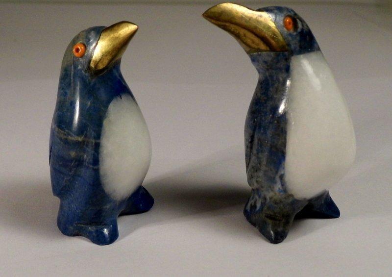 2 Lapis Quartz Figurines Penguins Coral Eyes Too Cute!