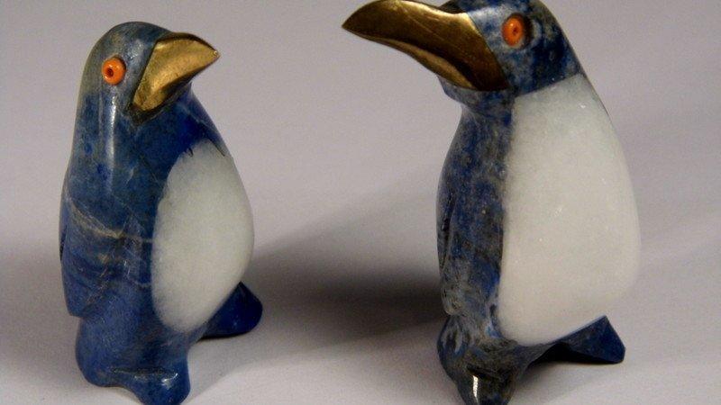 2 Lapis Quartz Figurines Penguins Coral Eyes Too Cute! - 3
