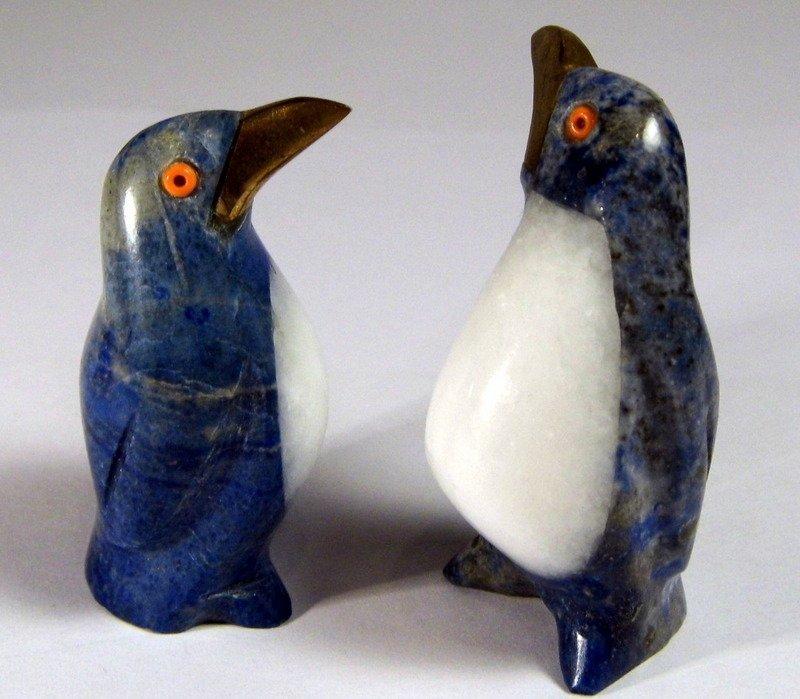 2 Lapis Quartz Figurines Penguins Coral Eyes Too Cute! - 4