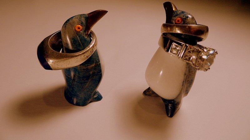 2 Lapis Quartz Figurines Penguins Coral Eyes Too Cute! - 5