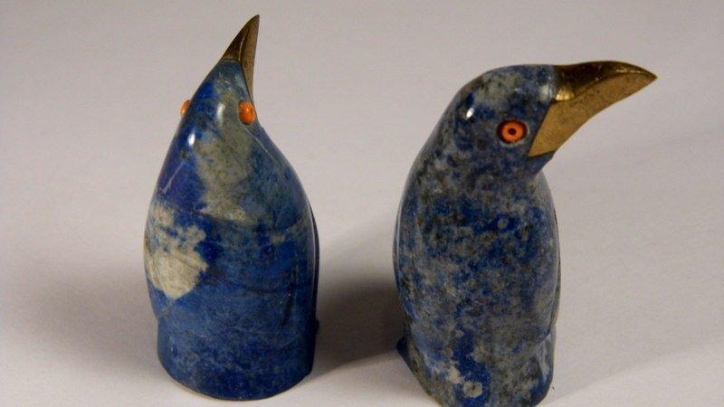 2 Lapis Quartz Figurines Penguins Coral Eyes Too Cute! - 6