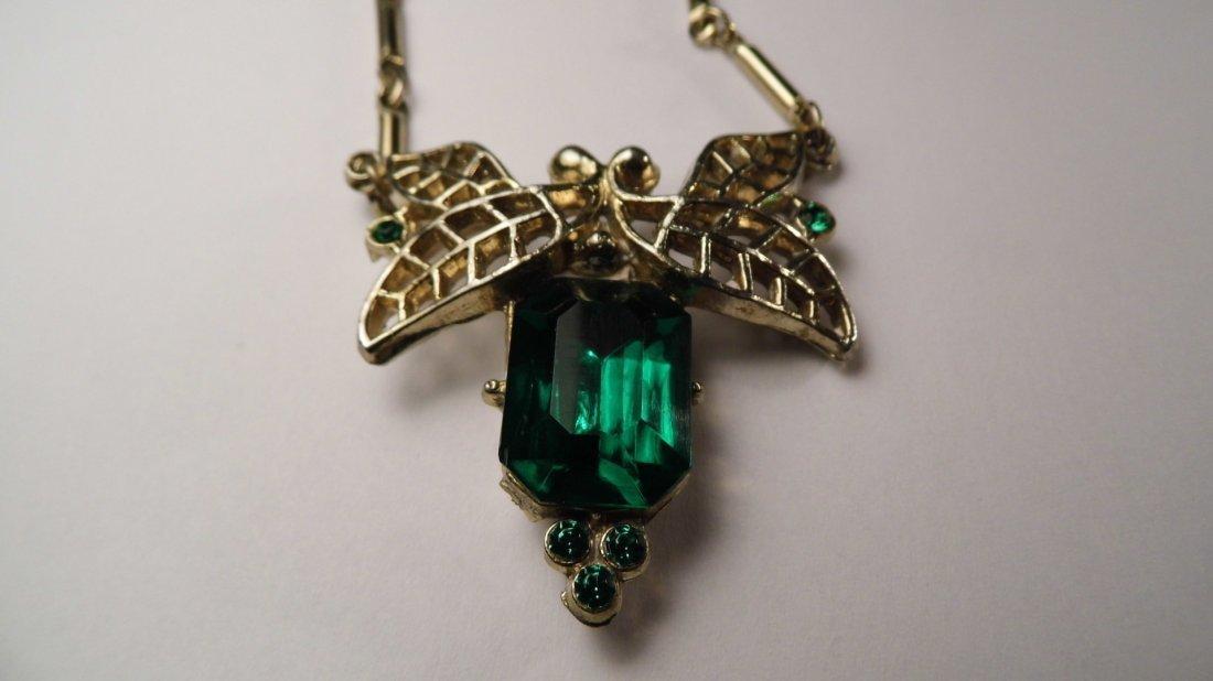 1940's Art Deco Cut Emerald Glass Necklace