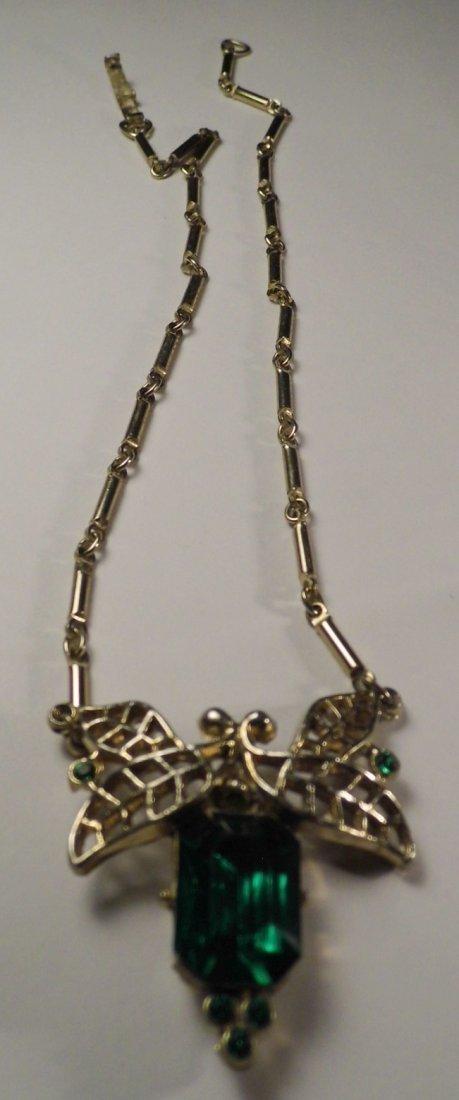 1940's Art Deco Cut Emerald Glass Necklace - 2