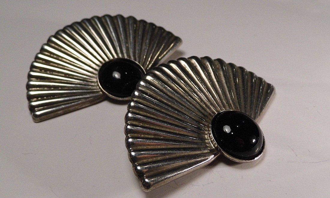 Pr Vintage Sterling Silver Onyx Mexican Clip Earrings