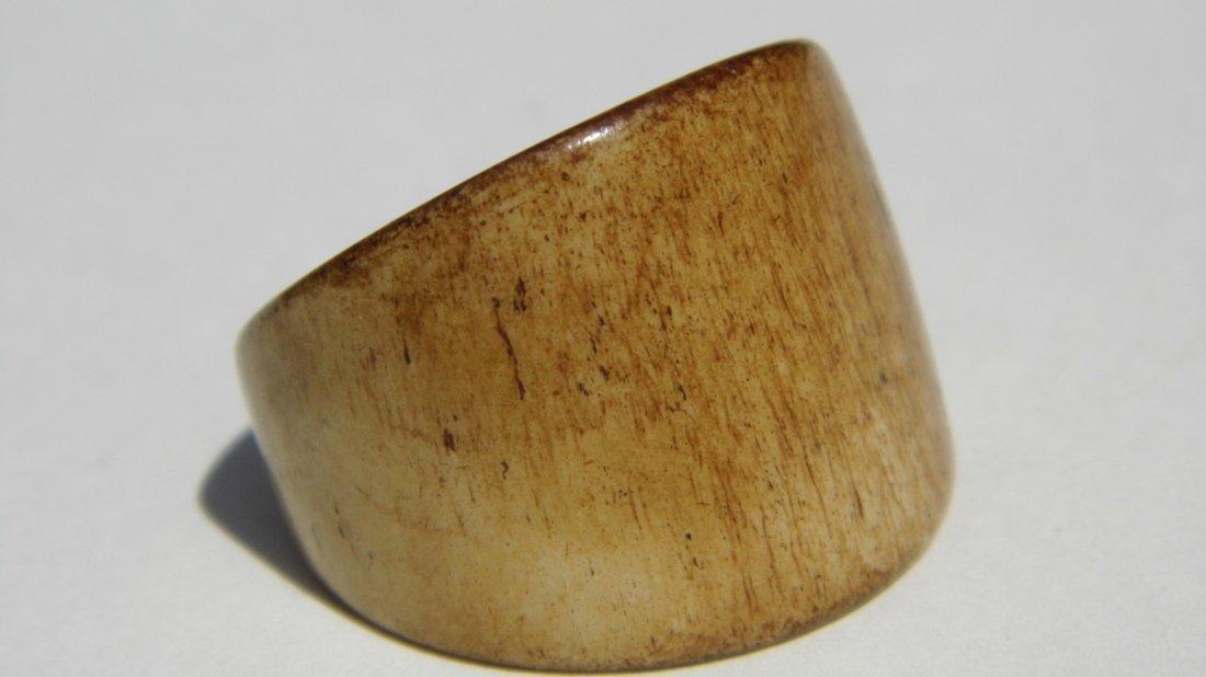 Vintage Carved Antler Signet Form Fetish Ring Patina