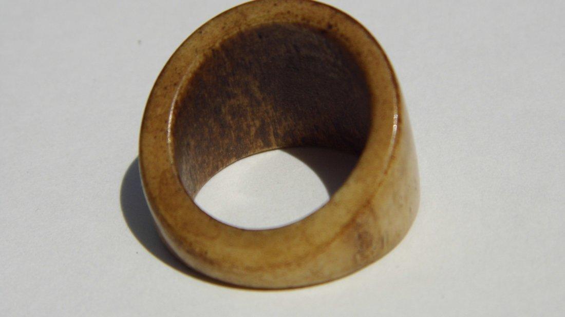 Vintage Carved Antler Signet Form Fetish Ring Patina - 2