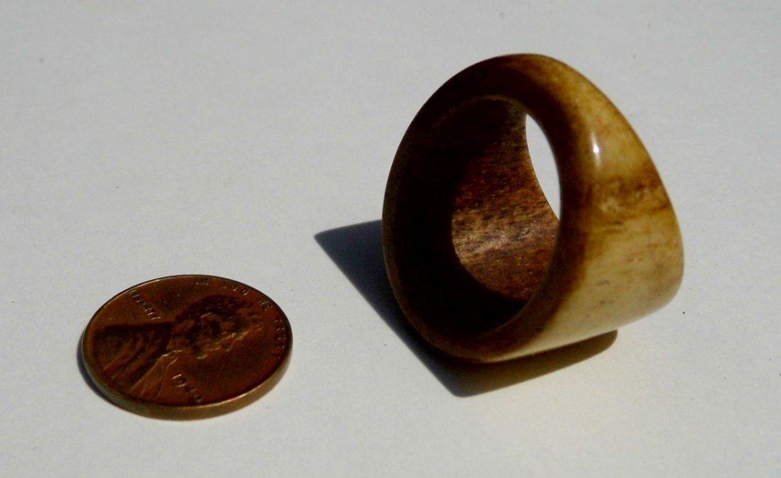 Vintage Carved Antler Signet Form Fetish Ring Patina - 3