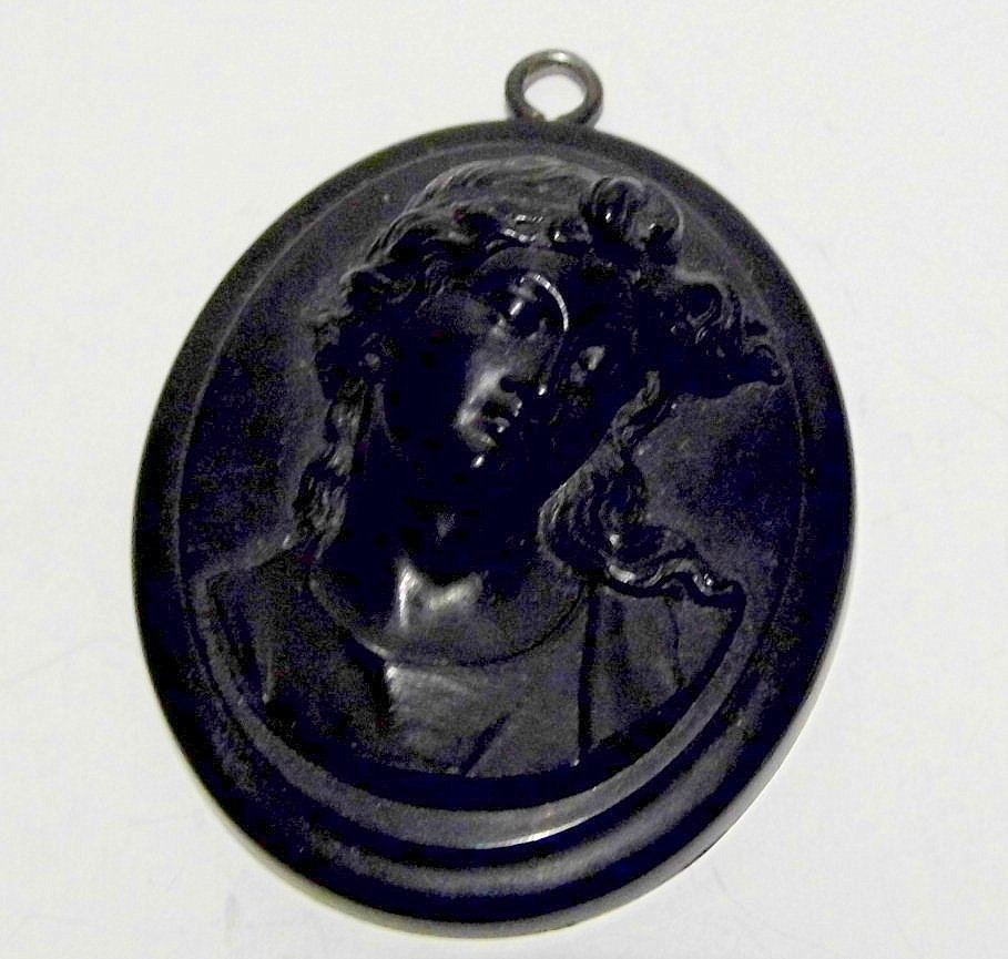 Bakelite Victorian Cameo Mourning Necklace Pendant