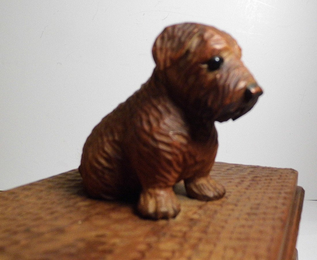 Vintage Germany Alpine Kiefer Carved Scottie Dog Box - 4
