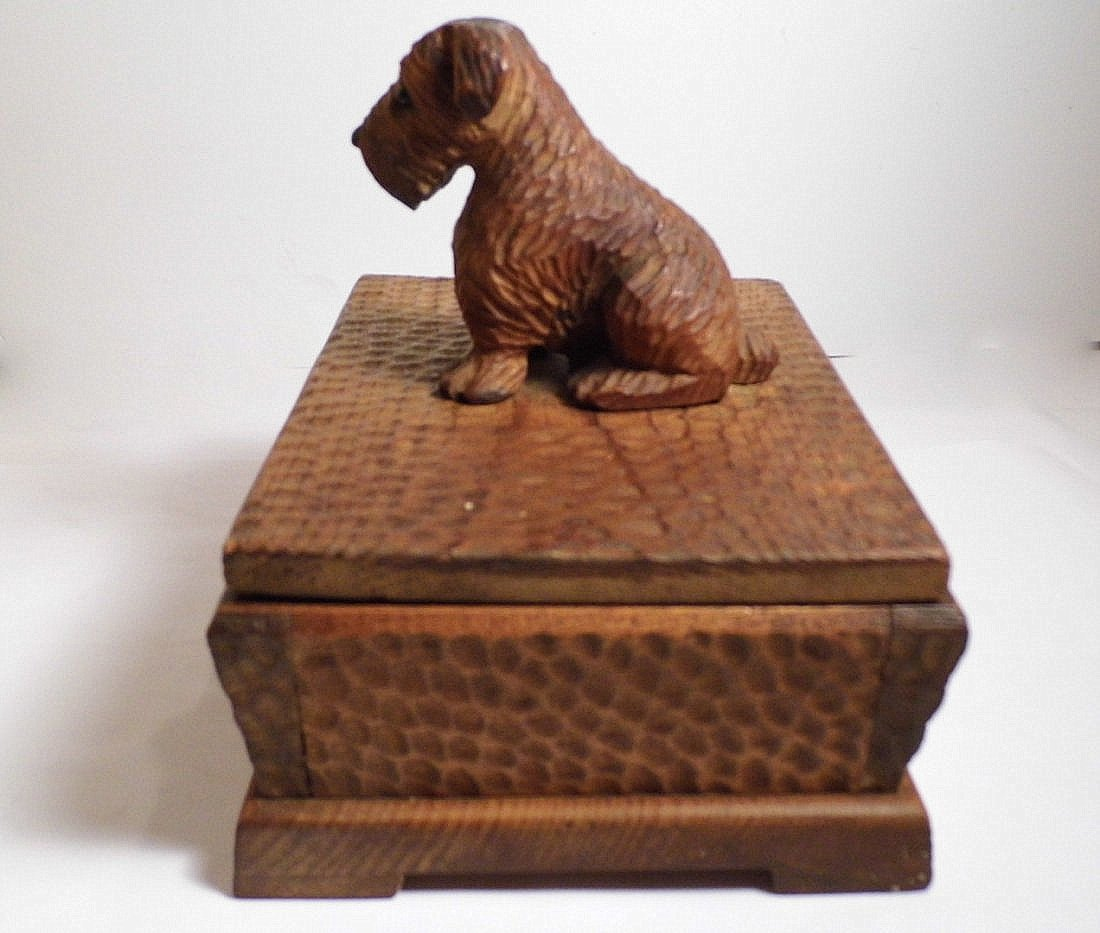 Vintage Germany Alpine Kiefer Carved Scottie Dog Box - 5