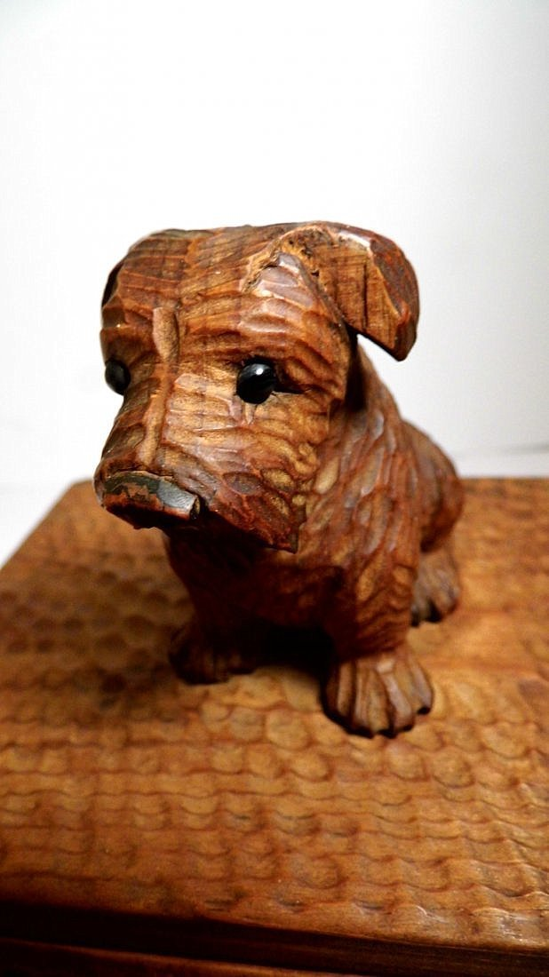 Vintage Germany Alpine Kiefer Carved Scottie Dog Box - 6