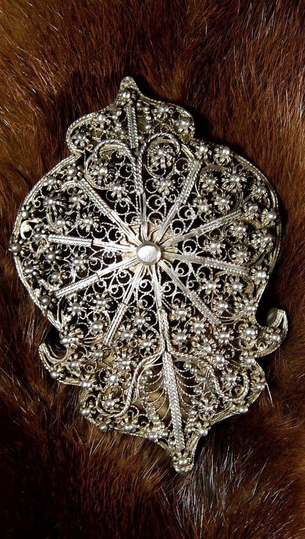 Antique Silver Filigree Arched Tunic /Robe Brooch Fine