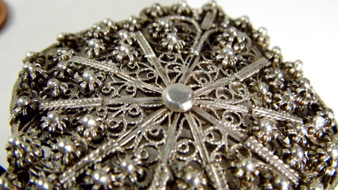 Antique Silver Filigree Arched Tunic /Robe Brooch Fine - 3