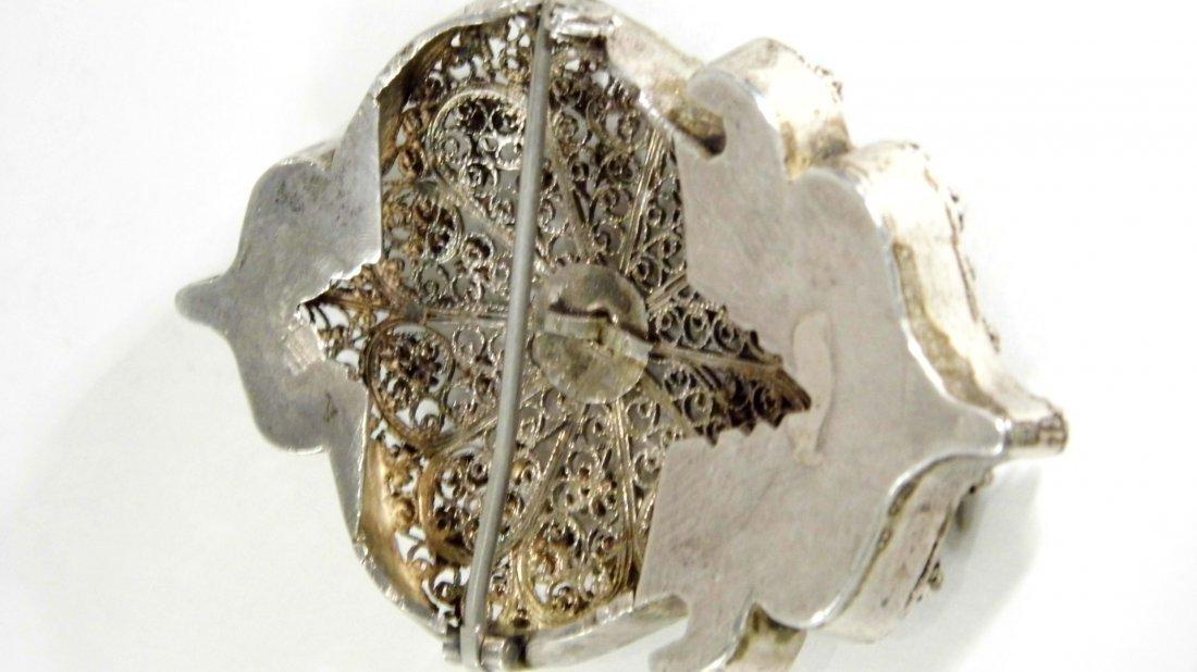 Antique Silver Filigree Arched Tunic /Robe Brooch Fine - 4