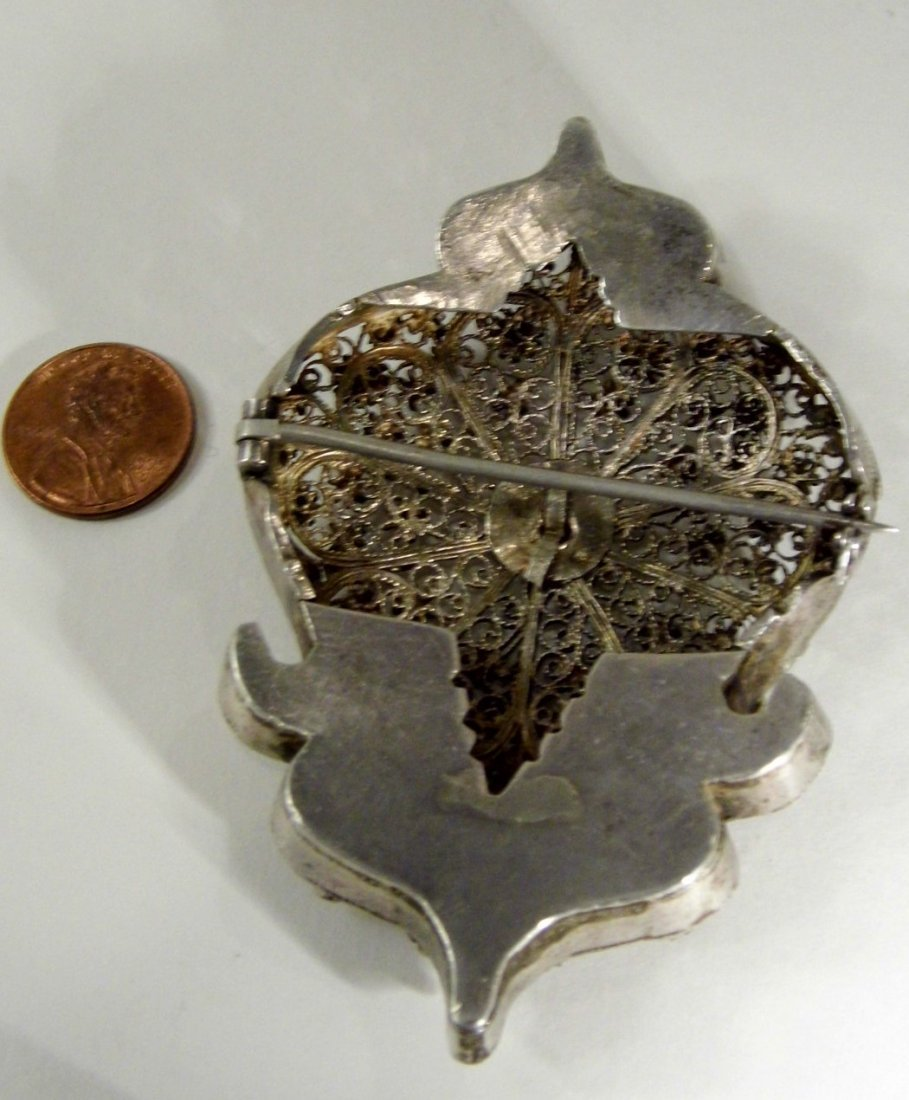 Antique Silver Filigree Arched Tunic /Robe Brooch Fine - 5