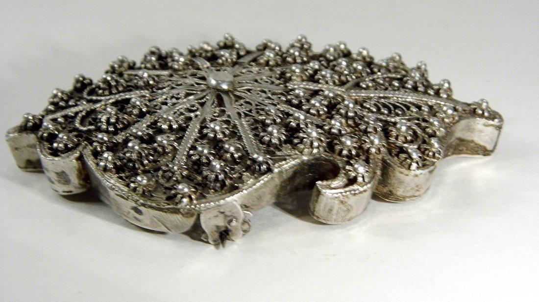 Antique Silver Filigree Arched Tunic /Robe Brooch Fine - 7
