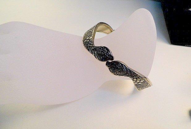 Vintage Silver Niello Clamper Cuff Bracelet Serpents - 2