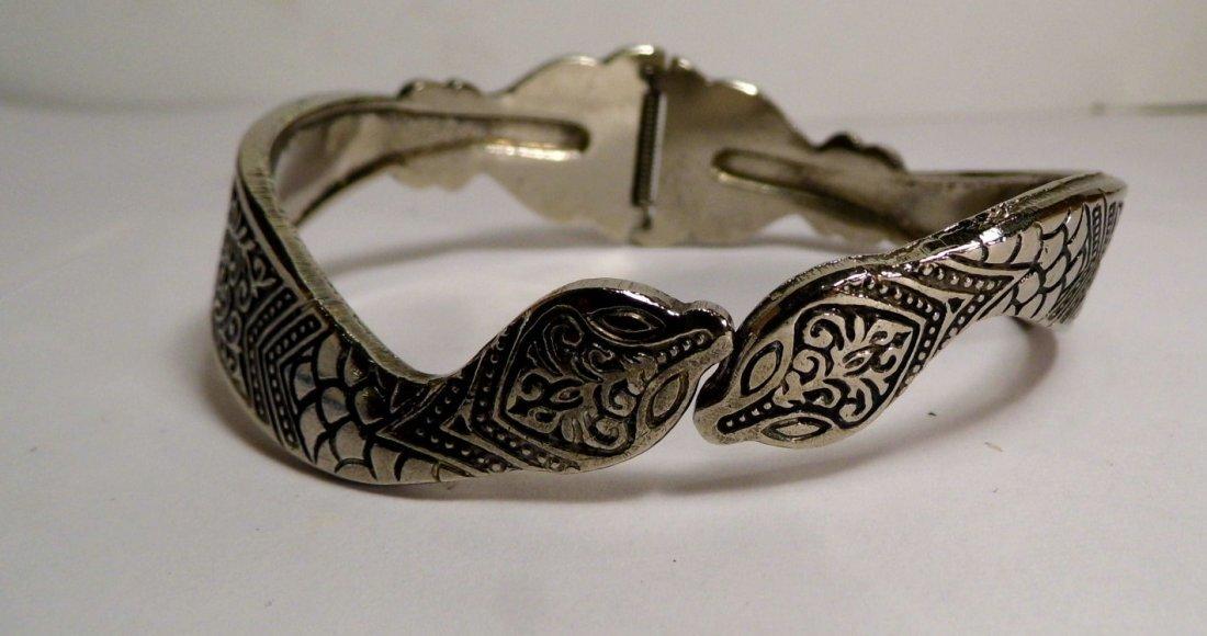Vintage Silver Niello Clamper Cuff Bracelet Serpents - 3