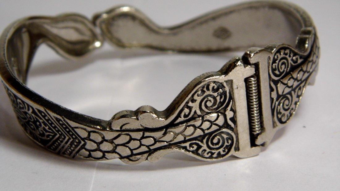Vintage Silver Niello Clamper Cuff Bracelet Serpents - 4
