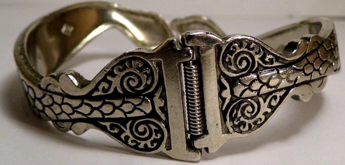 Vintage Silver Niello Clamper Cuff Bracelet Serpents - 5