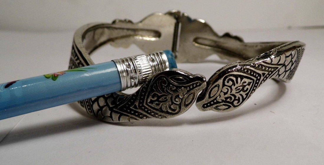 Vintage Silver Niello Clamper Cuff Bracelet Serpents - 6