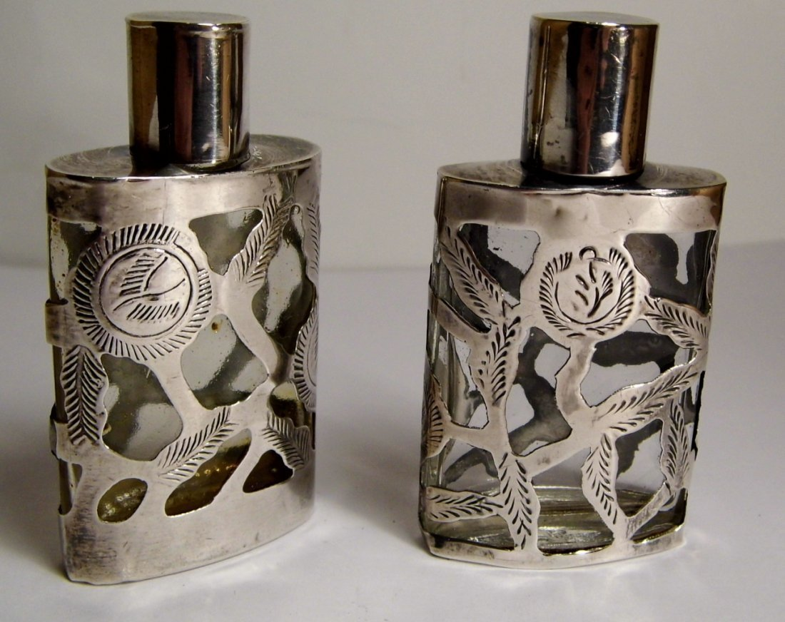 Pr Taxco Mexican Sterling Silver Overlay Mini Perfumes