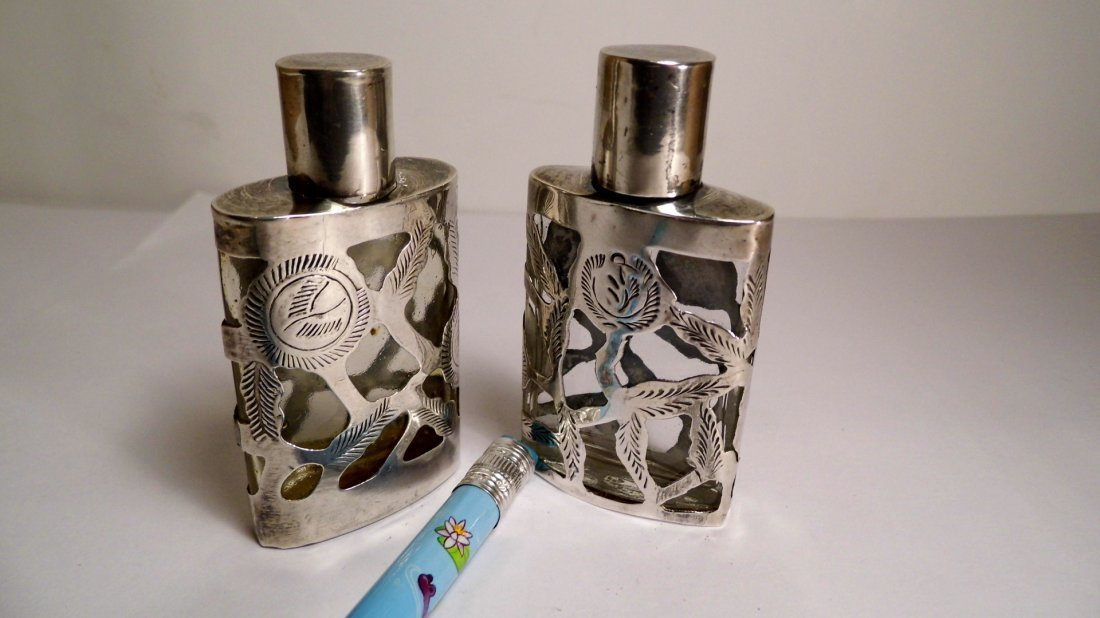 Pr Taxco Mexican Sterling Silver Overlay Mini Perfumes - 3