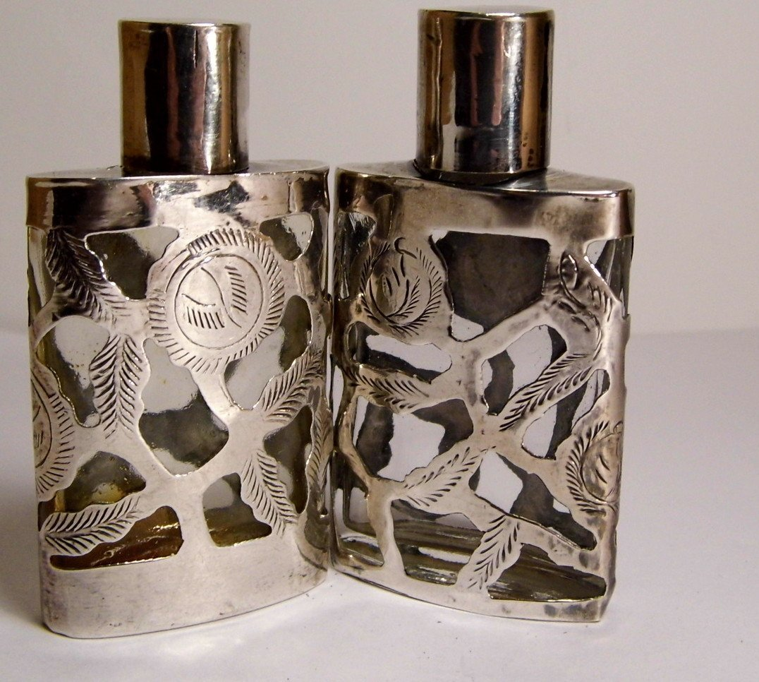 Pr Taxco Mexican Sterling Silver Overlay Mini Perfumes - 4