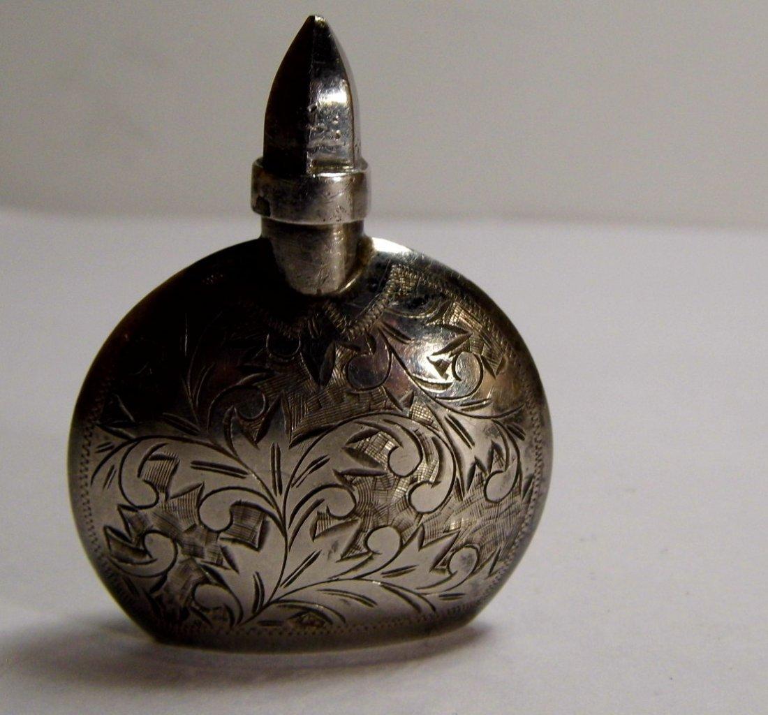 Vintage Chased Sterling Silver Mini Perfume Bottle
