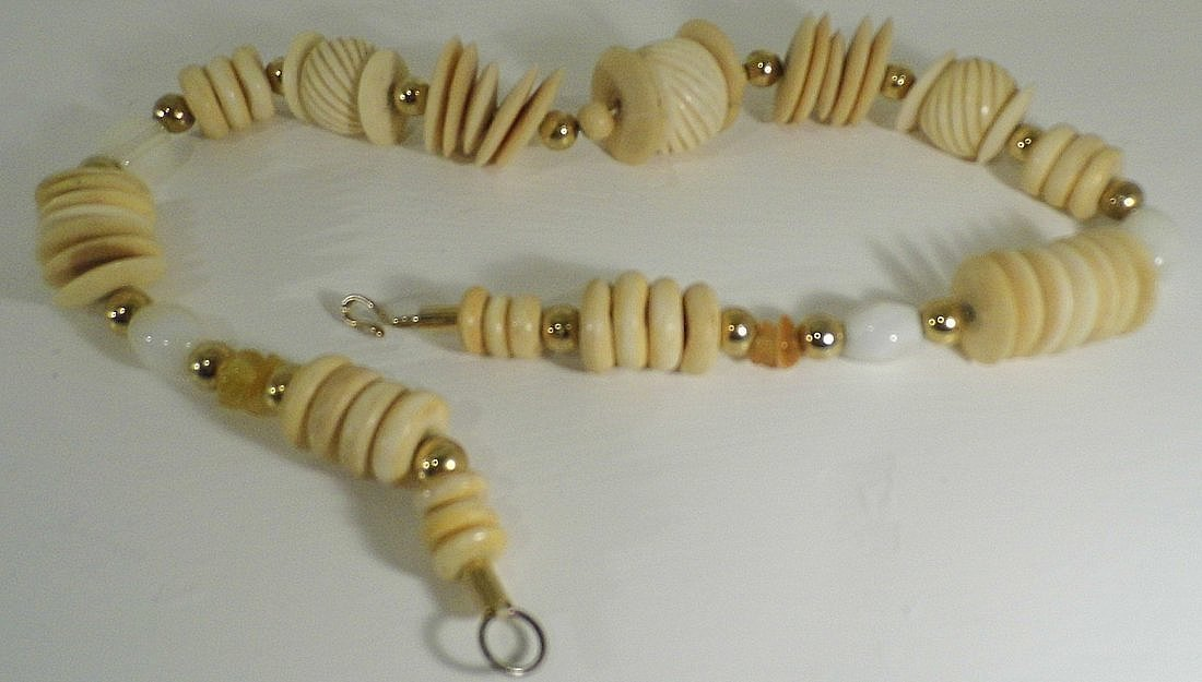 Fetish Neckace Bone & Quartz Beads