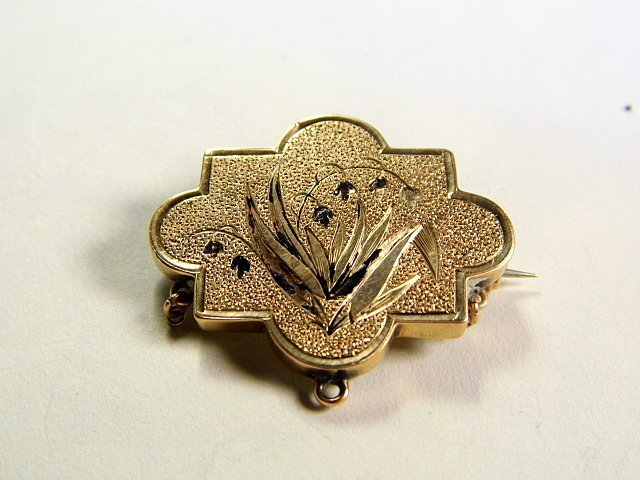 Victorian Etruscan Design Gold Fill Mourning Brooch
