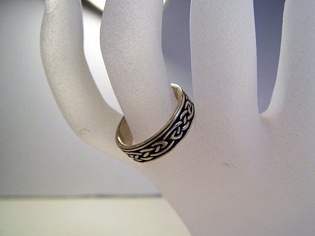 Vintage Sterling Silver Niello Celtic Ring