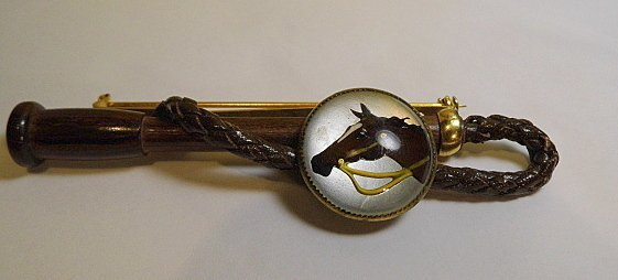 Equestrian Jewelry Riding Crop Horse Portrait Brooch