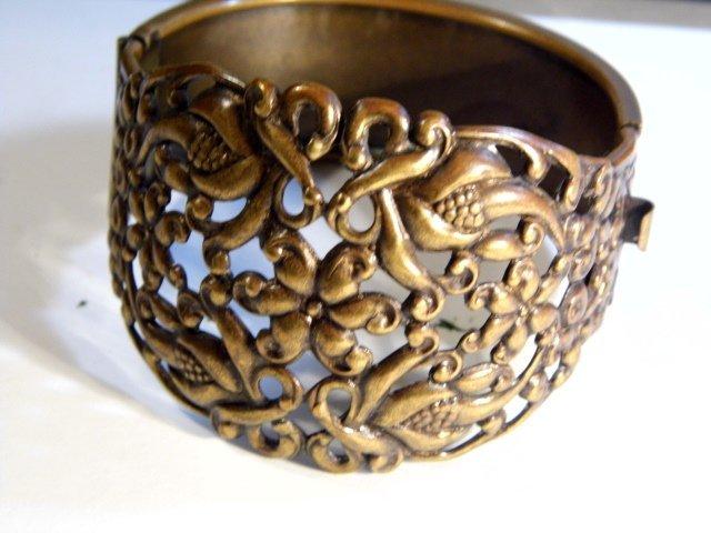 Vintage Ornate Wide Copper Cuff Bracelet