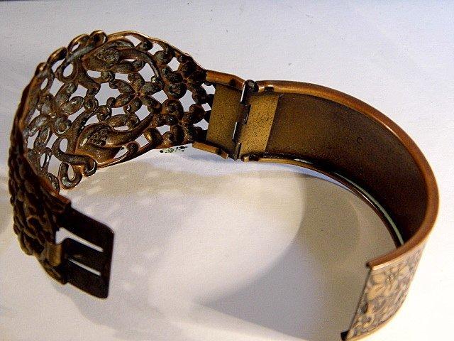Vintage Ornate Wide Copper Cuff Bracelet - 2