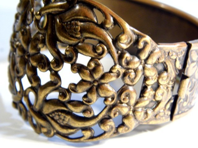 Vintage Ornate Wide Copper Cuff Bracelet - 3