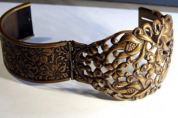 Vintage Ornate Wide Copper Cuff Bracelet - 4